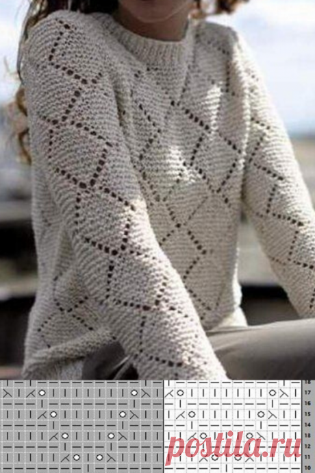 Красивый узор ромбы спицами для вязания жакета
