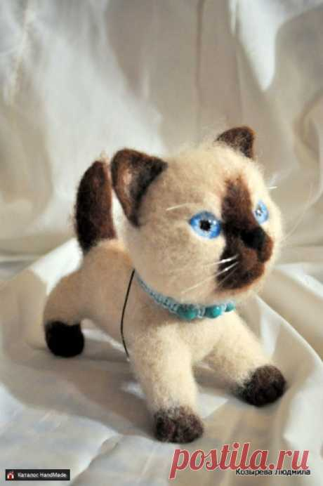 Валяная игрушка Валяная Кошечка Сиамка ручной работы HandMade
