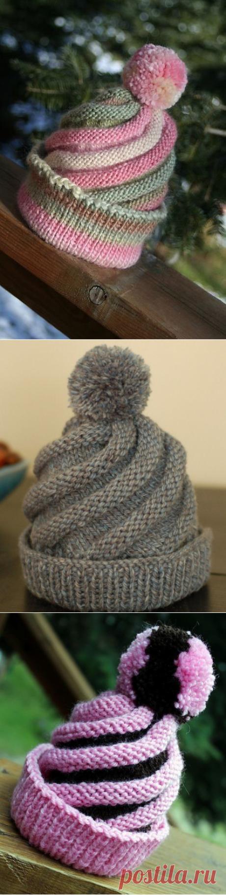 Вяжем объемную и красивую шапочку-спираль из категории Интересные идеи – Вязаные идеи, идеи для вязания