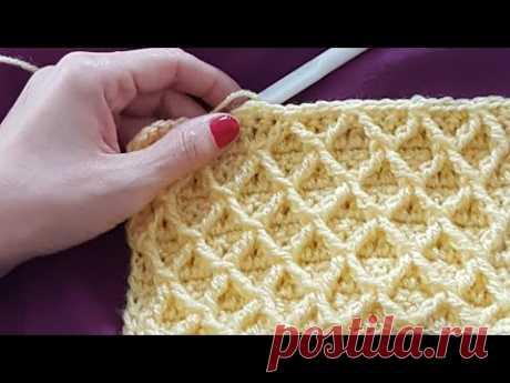 Kabartmalı Baklava Modeli / 3D Honeycomb Crochet