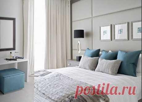Серо-голубая спальня  Согласно психологическим тестам цвет, который нравится большинству людей - голубой. А какой цвет лучше всего сочетается с голубым? Конечно же, серый!