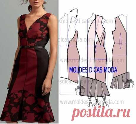 Моделирование платья в V-образным вырезом  #шитье #выкройки #моделирование #платье #vобразныйвырез #элегантное #приталенное #бесплатныевыкройки
