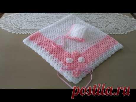 Manta para bebé blanca y rosa