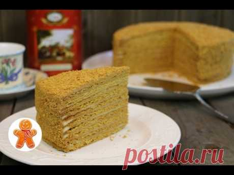 Honey cake with gentle cream on boiled sour cream