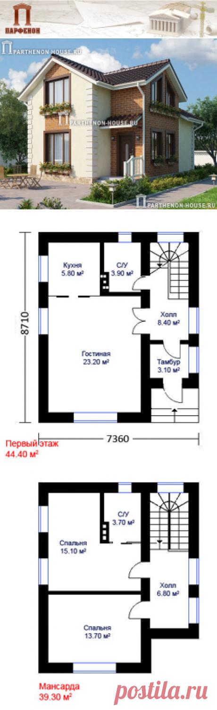 Проект небольшого дома с мансардой НД 83-7 Площадь общая: 83,70 кв.м. Высота потолков 1 этажа: 2,700 м. Высота потолков в мансарде: от 1.900 м. до 2,600 м.   Технология и конструкция: строительство дома из газобетона. Фундамент: монолитная ж/б плита. Наружные стены: кладка из блоков газобетона толщиной 375 мм + утеплитель.