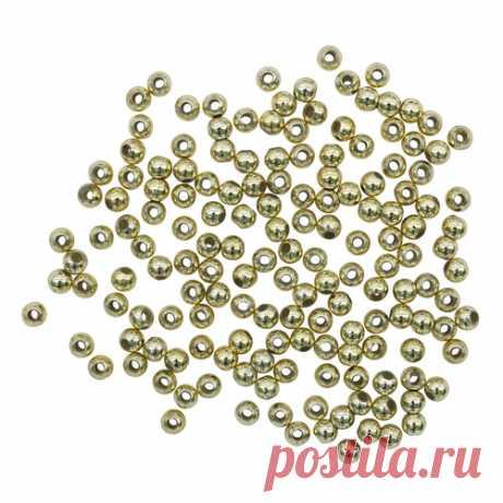 Бусины металлизированные, пластик, цвет: золото (№ 4), 4 мм, 15 гр (440+/-20 шт)