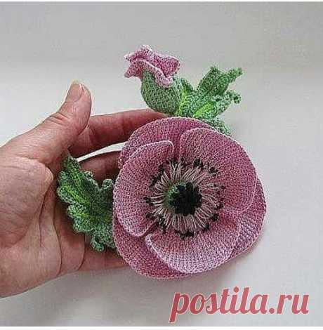 Цветок в технике тунисского вязания, автор неизвестен • best_handmade_world Цветок в технике тунисского вязания, автор неизвестен