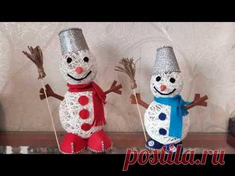 Снеговики из ниток и фетра. Новогодняя игрушка . DIY/рукоделие . #новыйгод #рождество