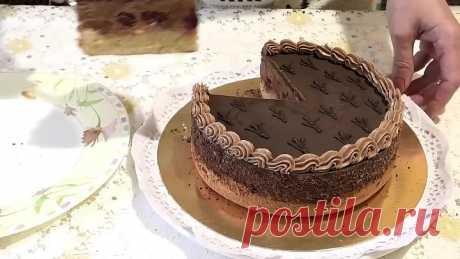 Торт ГУСИНЫЕ ЛАПКИ с вишней и шоколадным кремом. Рецепт по ГОСТу, /Chocolate cream cake