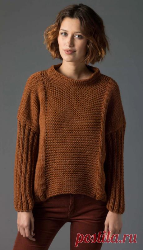 Простой пуловер спицами изнаночной гладью схема