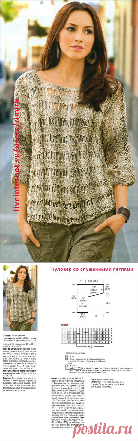 Пуловер с эффектом мережки (спицы)