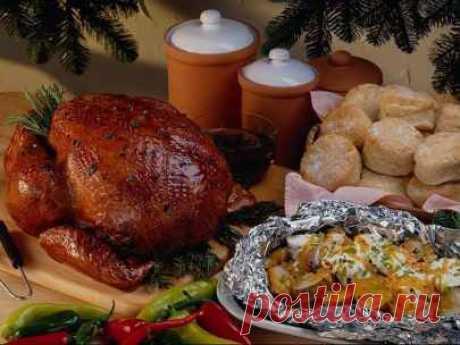 Рецепт Рождественская курица, фаршированная гречей и печеный картофель на гарнир