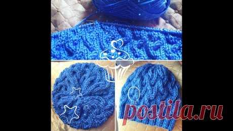 ВЯЗАНИЕ ШАПКИ С КОСАМИ СПИЦАМИ МАСТЕР-КЛАСС ПО ВЯЗАНИЮ ШАПКИ С КОСАМИ СПИЦАМИ. РАЗМЕР ШАПКИ 54-57. Нитка ADELIA Rada, спицы для резинки 4.5мм, для узора 5мм. Master-class knitting hats.