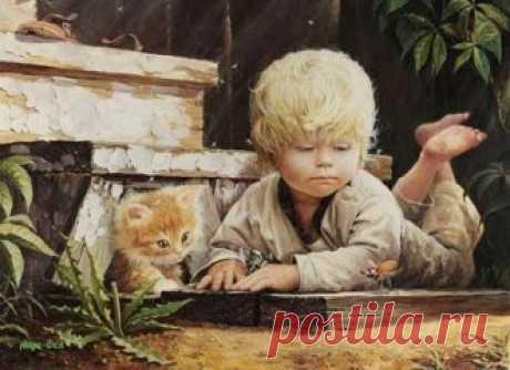 Los momentos calientes de la infancia en las telas del pintor Vladislav Leonovicha bielorruso.