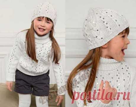 Пуловер и шапка (д) 35*163 Bergere de France №3251