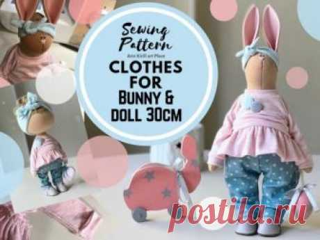 Sewing Pattern Bunny Clothes, Bunny Cloth Tutorial, Bunny DIY Pattern, Bunny Rag Doll, PDF Doll Cloth, Interior Rag Doll Handmade by Yulia K Bunny Doll Clothes Sewing Pattern for Interior Doll by master Yula K.  Pattern uncludes Bunny Doll Clothes sewing tutorial. Same cloth sewing tutorial fits standard Yulia 30 cm doll. Pattern is for 30 cm (11.9 inch) bunny cloth by master Yulia K.  Pattern is made in PDF format: 12 pages, 41 photos +
