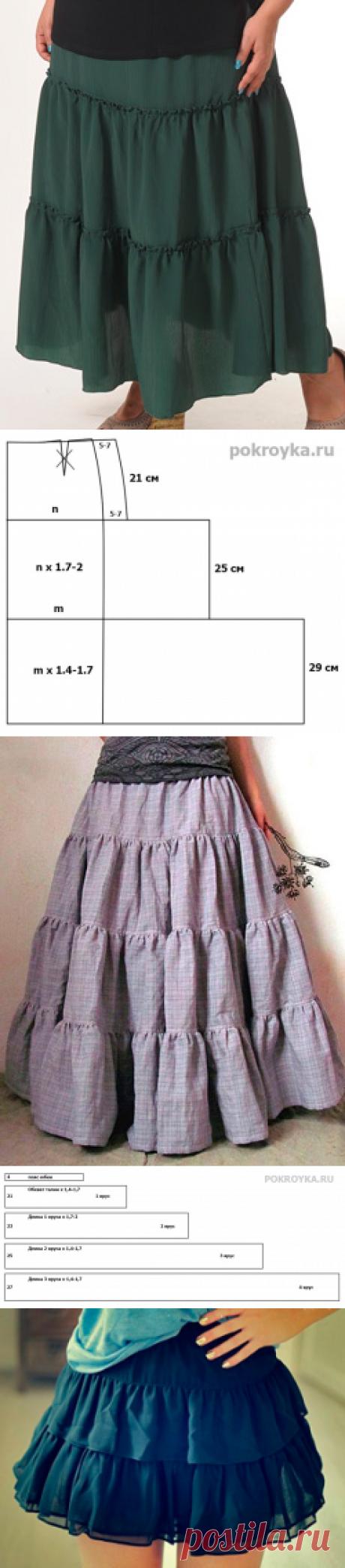 Многоярусная юбка | pokroyka.ru-уроки кроя и шитья