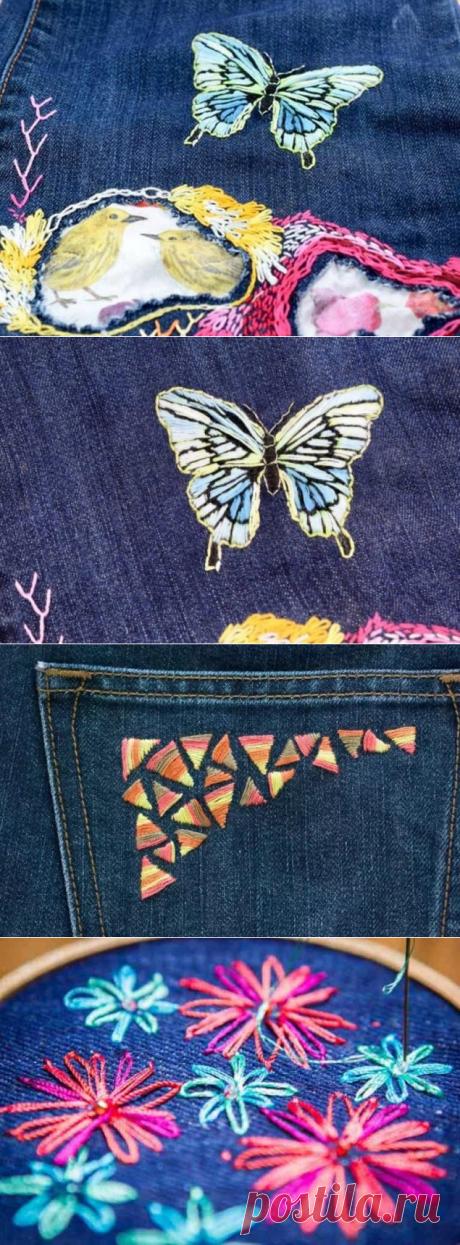Как вышивать на джинсах - 5 мастер-классов