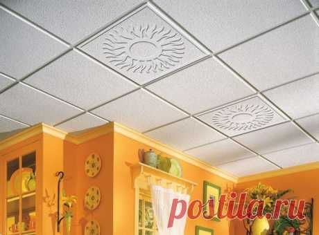 Ceiling tile for kitchen: repair of a ceiling the hands and photo