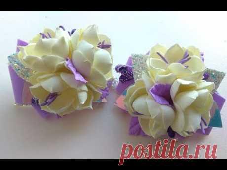 Резиночки для волос Простые Цветы из фоамирана и экокожи