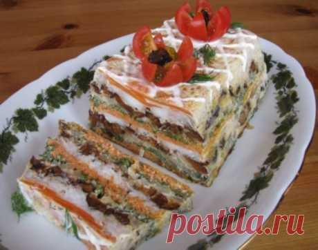 Рыбный торт-праздничное блюдо.