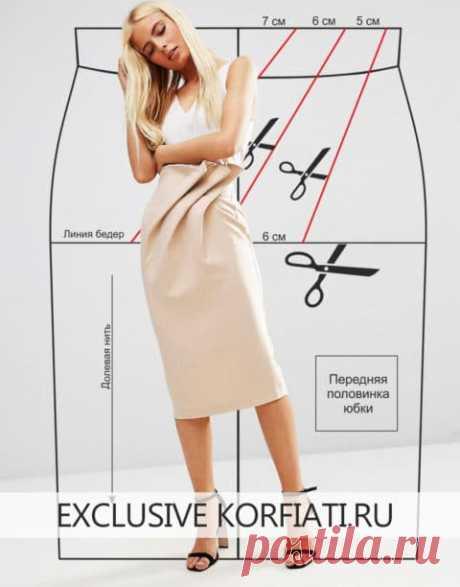 El patrón de la falda con los pliegues oblicuos de Anastasia Korfiati