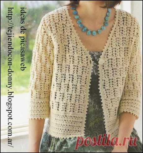 crochet fabric , CROCHET - GANCHILLO - PATRONES - GRAFICOS: CAMPERA TEJIDA A GANCHILLO EN LANA