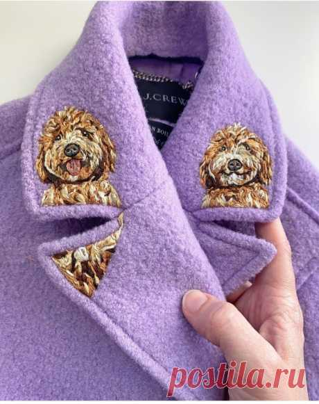 Вышитый воротник пальто Модная одежда и дизайн интерьера своими руками