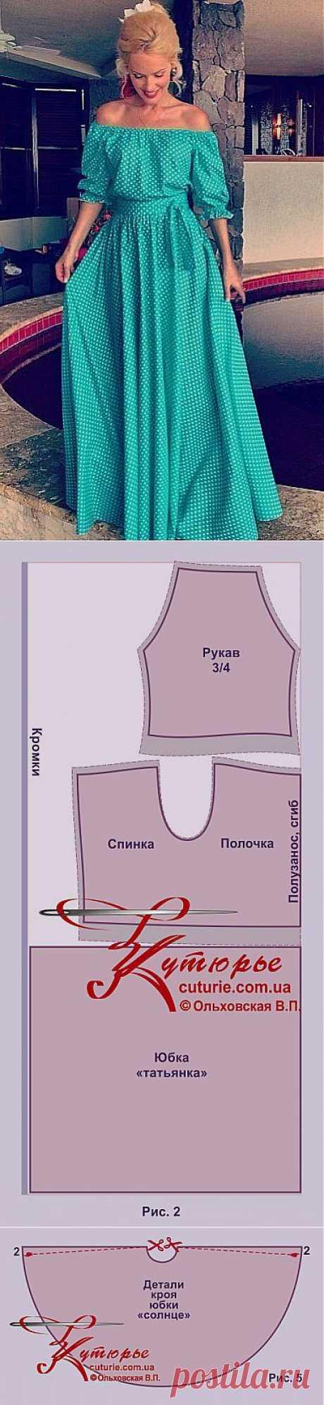 Электронная выкройка платья «барышня-крестьянка».