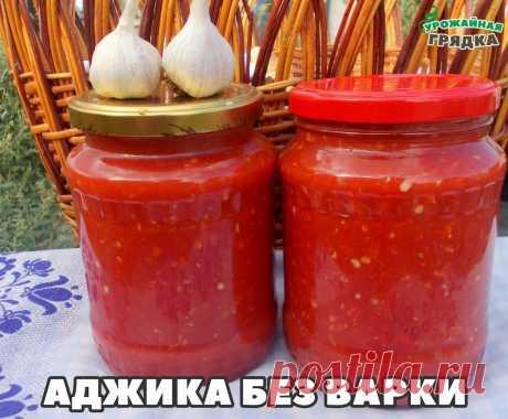 АДЖИКА БЕЗ ВАРКИ  помидоры — 4 кг перец болгарский — 1,5 кг перец чили — 3 шт. чеснок — 200 г уксус (9%-ый) — 200 мл соль — 2 ст.л.  Как приготовить холодную аджику из перца:  1. Помидоры сначала вымоем, а затем обсушим. 2. Перец болгарский точно так же как и помидоры, вымоем и обсушим. 3. Теперь обрежем болгарским перцам плодоножки. А вот семечки можно не удалять. И это большой плюс, ведь они придают очень своеобразный вкус аджике! 4. Подготовим перчик чили и чеснок. У пе...