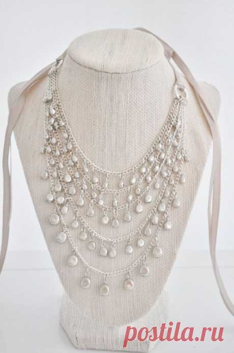 New Years Necklace Freshwater Pearl Necklace от AprilGetsCrafty