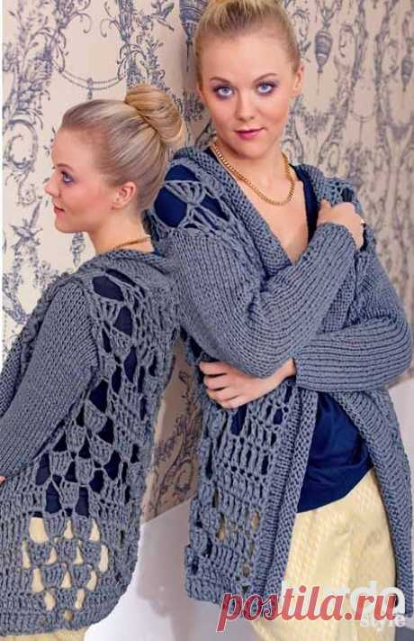 Openwork jacket from a thick yarn - the scheme of knitting by a hook. We knit Jackets on Verena.ru