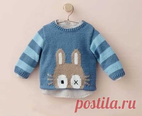 Пуловер с зайкой - Вязание спицами для детей
