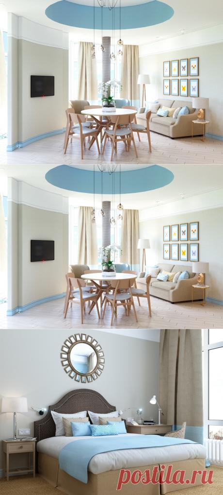 Апартаменты у моря: три комнаты в бежевых тонах – Roomble.com