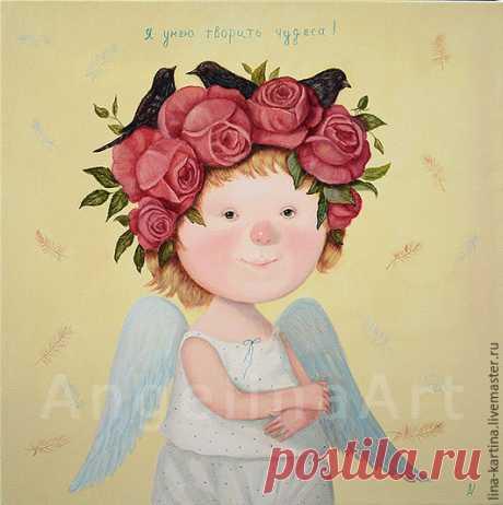 """Ангел - """"Я умею творить чудеса"""" картина маслом ."""