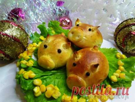 Гламурные свинки булочки символ года желтой свиньи Фантастически гламурная новогодняя закуска — модные булочки в виде поросят.На праздничном столе 2019 будут смотреться очень весело и необычно.Хозяйка Нового года свинка должна обязательно присутствова...