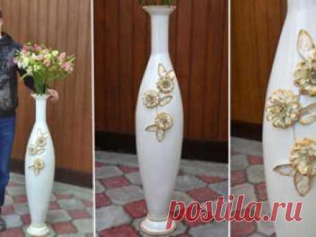 Как сделать напольную вазу своими руками из банки фото 555