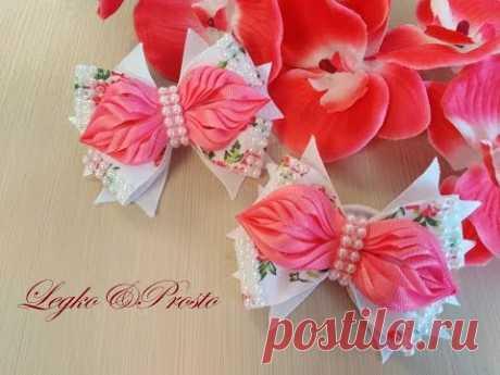 Красивые бантики из репсовых лент МК Канзаши / Bows of rep ribbons / Arcos de fitas de rep