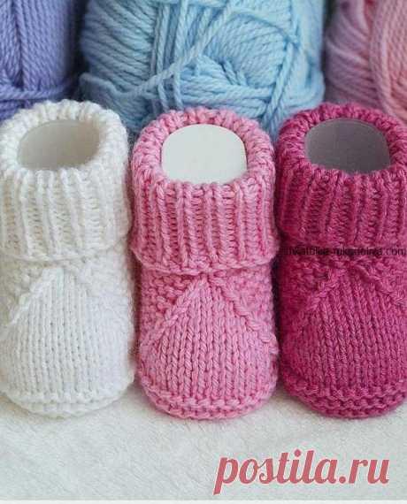 Пинетки спицами для малыша Пинетки для новорожденных спицами. Детские пинетки с подробным описание