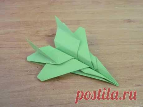 Как сделать Самолет из бумаги бумажный самолет Истребитель F 15  Fighter Paper Plane F 15 Origami