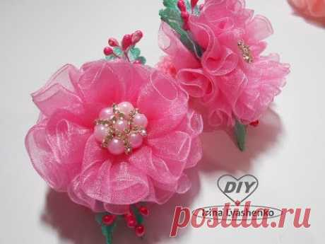 Пышный цветок из органзы МК/DIY Organza flower/PAP Flor de organza#168
