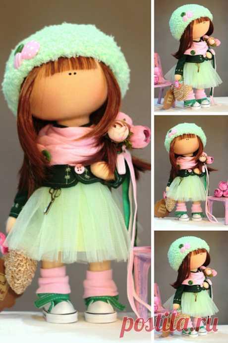Muñecas Rag Doll Fabric Doll Teen Doll Handmade Doll Green