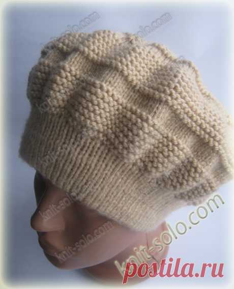 Knitted spokes a warm winter beret - knit-solo.com
