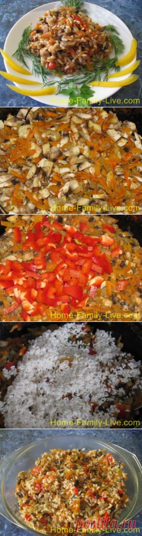 Рис с грибами - пошаговый фоторецепт - постное блюдоКулинарные рецепты