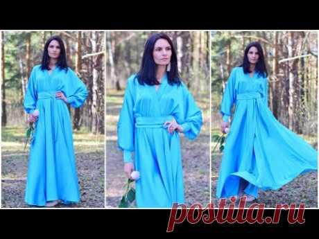 Длинное платье с юбкой полусолнце и цельнокроенным рукавом БЕЗ ВЫКРОЙКИ.