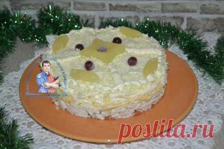 Салат с ананасом и курицей и сыром пошаговый рецепт с фото слоями Бесподобно вкусный салат с ананасами и отварной куриной грудкой. В рецепте будем использовать твердый сыр и яблоко. Это лучший салат на праздничный стол.