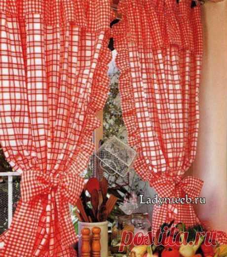 Кухонные занавески с воланами на петлях      Ladynweb.ru