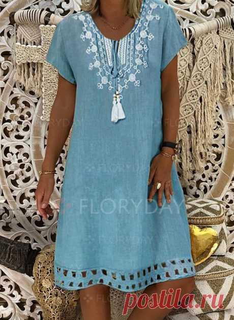 Casual Color Block Round Neckline Above Knee A-line Dress - Floryday