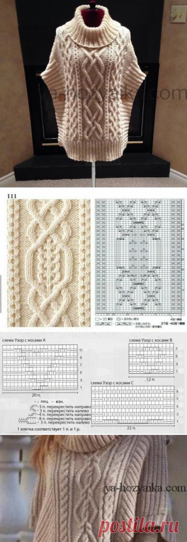 Вязаное пончо аранами схемы. Вязание пончо спицами от горловины