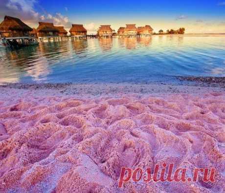 Розовый песок острова Харбор, Багамы ...